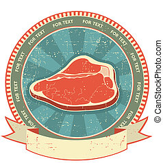 étiquette, papier, vieux, fond, ensemble, texture., viande, vendange