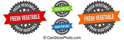 étiquette, set., ruban, légume, signe., rond, frais, cachet