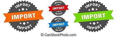 étiquette, set., ruban, signe., rond, importation, cachet