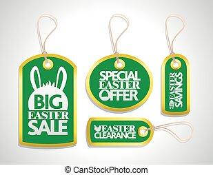 étiquette, set., vert, vente, paques