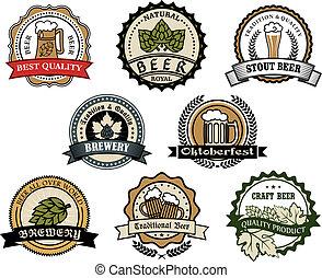 étiquettes, brasserie, bière