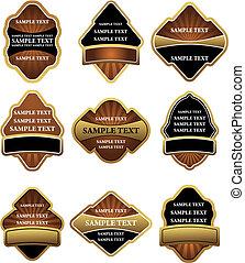 étiquettes, brun, ensemble, or