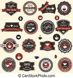 étiquettes, café, éléments, style, retro