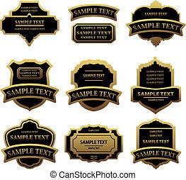 étiquettes, doré, ensemble, cadres