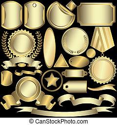 étiquettes, doré, (vector), ensemble, argenté