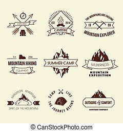 étiquettes, ensemble, camping
