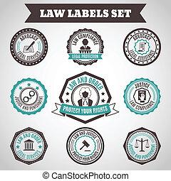 étiquettes, ensemble, droit & loi