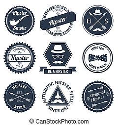 étiquettes, ensemble, hipster