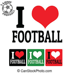 étiquettes, football, amour, signe