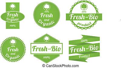 étiquettes, frais, ensemble, organique