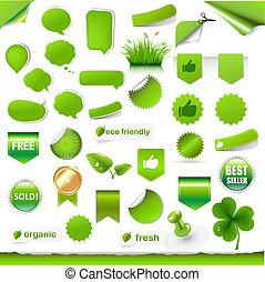 étiquettes, grand, ensemble, vert