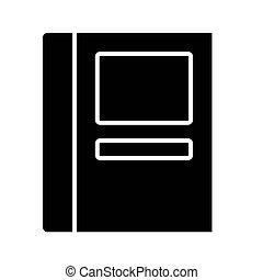 étiquettes, icône, livre, fermé, conception, vecteur, style, silhouette