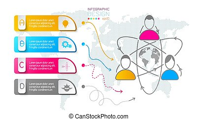 étiquettes, infographic, business, vertical, bar.
