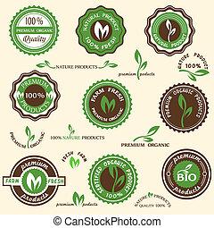 étiquettes, organique, collection, icônes
