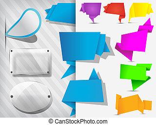 étiquettes, origami, ensemble, bannières, étiquette