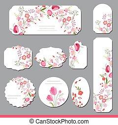 étiquettes, papier, tulipes, floral, rectangulaire, rose, rond, roses, carrée, rouges, différent, collection, shapes., flowers., announcements.