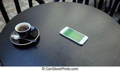 étiquettes, recevoir, écran, téléphone, iphone, blanc vert, appeler