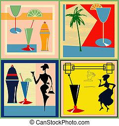 étiquettes, retro, cocktail
