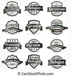 étiquettes, vecteur, ensemble, retro, espagnol
