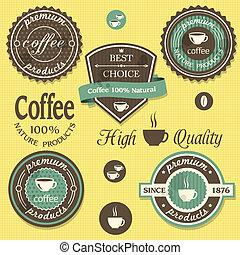 étiquettes, vecteur, style, café, vendange