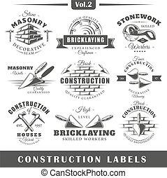 étiquettes, vendange, construction