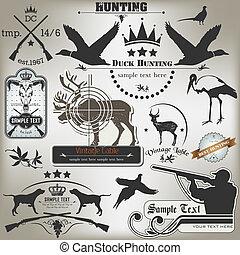 étiquettes, vendange, ensemble, hunting.