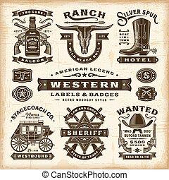 étiquettes, vendange, ensemble, occidental, insignes