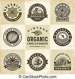 étiquettes, vendange, ensemble, organique, insignes