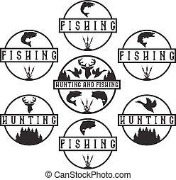 étiquettes, vendange, ensemble, peche, chasse