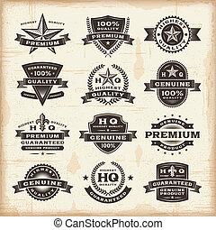 étiquettes, vendange, ensemble, prime, qualité