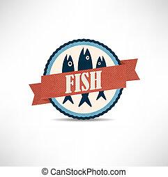 étiquettes, vendange, retro, fish