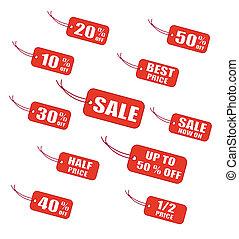 étiquettes, vente, rouges