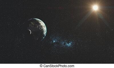 étoilé, lumière soleil, terre planète, filer, galaxie, lueur