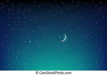 étoilé, lune, sombre, vecteur, étoiles, nuit, paysage