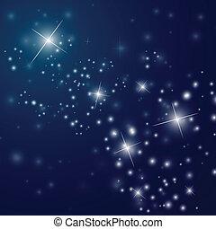 étoilé, résumé, ciel, nuit