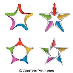 étoile, éléments, conception, coloré