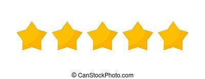 étoile, 5, vecteur, étoiles, jaune, cinq, classement, isolé, icon., or, revue