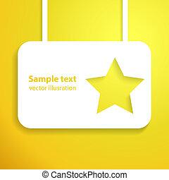 étoile, applique, illustration, arrière-plan., vecteur, starlit, jaune, ton, design.