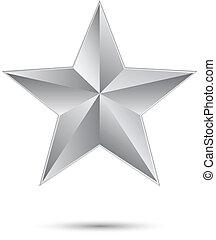 étoile, argent, 3d