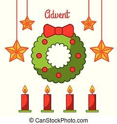 étoile, bougies, couronne, venue, décoration, célébration