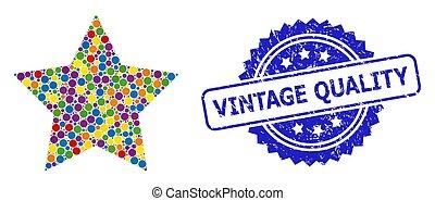 étoile, cachet, rouges, caoutchouc, coloré, mosaïque, qualité, vendange