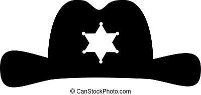 étoile, chapeau, shérif, icône