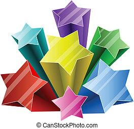 étoile, coloré, éclater, space., blanc, copie, 3d