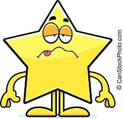 étoile, dessin animé, malade