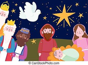 étoile, dessin animé, rois, nativité, sage, pigeon, famille, mangeoire