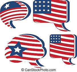 étoile, drapeau etats-unis, parole, logo, bulle