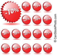 étoile, escompte, vecteur, nombres, marketing., promotion, insignes, 3d