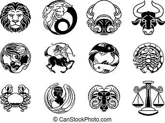 étoile, horoscope, signes, zodiaque, ensemble, astrologie, icône
