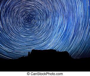 étoile, image, long, piste, nuit, exposition