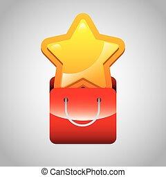 étoile, jaune, icône